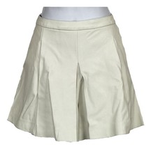 J Crew Collection Pleated Leather Skort Short White 8 C5671 - $64.39