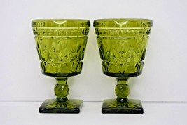 """Set of 2 Green Indiana Glass Goblets w/ Square Bottoms """"Colony Park Lane... - $13.85"""