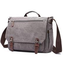 Gimay 15 inch Laptop Messenger Bag Canvas Briefcase Computer Bag Grey image 2