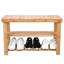 Entryway 2 Tier Wooden Shoe Bench 100% Natural Bamboo - $35.17