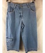 J. Jill Women's Denim Blue Capri Crop Jeans Size 8 Petite Pocket on Lowe... - $15.79