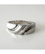 New Men's 10k White Gold Satin Finish with .06 Ct. Diamond Accent Ring S... - $222.75