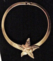 Vintage STARFISH Necklace Gold-tone Choker NICE! - $39.95