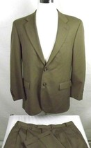 IZOD Suit Mens Size 42 Regular 38 x 29 Two Button Brown 100% Wool Pleats... - $55.40