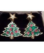 V43 Star-topped CHRISTMAS TREE post  earrings + gift bag - $6.92