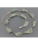Mexican Sterling Silver Mosaic Crushed Stone Inlay Curved Link Choker Ne... - $32.99