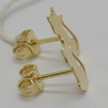 SOLID 18K YELLOW GOLD EARRINGS, WITH FLAT CATS, LENGTH 13 MM, MADE IN ITALY image 2