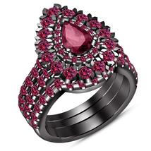 14k Black GP 925 Silver Pear Shape Pink Sapphire 3 Pcs Women's Wedding Ring Set - $151.99