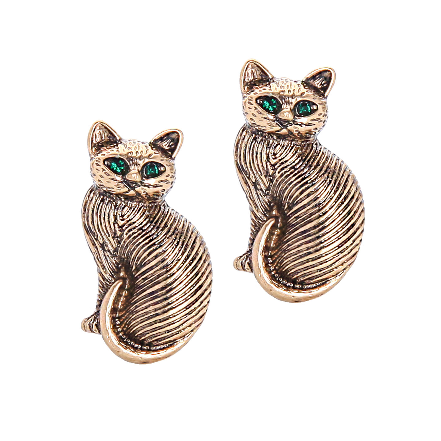 2pcs Brooch Tiny Cute Cat Kitten Bronze Gold Green Eyes Unisex Men Lovely Pin - $8.99