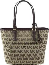 Michael Kors Women's Premium Jet Set Travel Medium Tote Bag Beige Ebony Mocha
