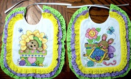 "Bibs Handcrafted XStitched - Decorated & Backed ""BABY'S GARDEN"" matches ... - $43.99"