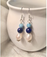 Sterling Silver Lapis,Larimar and Culture Pearl Baroque Drop Earrings  - $13.00