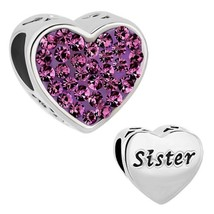 DemiJewelry Sister Charms Heart Purple Charm Beads For Bracelets - $17.68