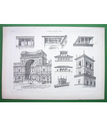 ARCHITECTURE PRINT : Italy Belvederes at Florence and Rome - $12.15