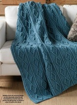 Z634 Crochet PATTERN ONLY Diamond Bobble Throw & Triple Twist Pullover P... - $8.50