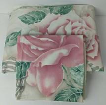 Vtg Springmaid Percale Floral Rose w. Ribbon Twin Flat & Pillowcase - $15.84