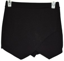 Boohoo Black Asymmetrical Envelope Textured Knit Skort Size US 4 | UK 8 image 1