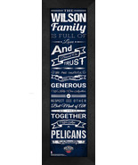 """Personalized New Orleans Pelicans """"Family Cheer"""" 24 x 8 Framed Print - $39.95"""
