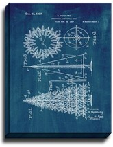 Artificial Christmas Tree Patent Print Midnight Blue on Canvas - $39.95+