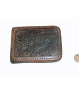 Vintage Brown Leather Tooled Woven Edge Floral Wallet Initials DAN - $14.10