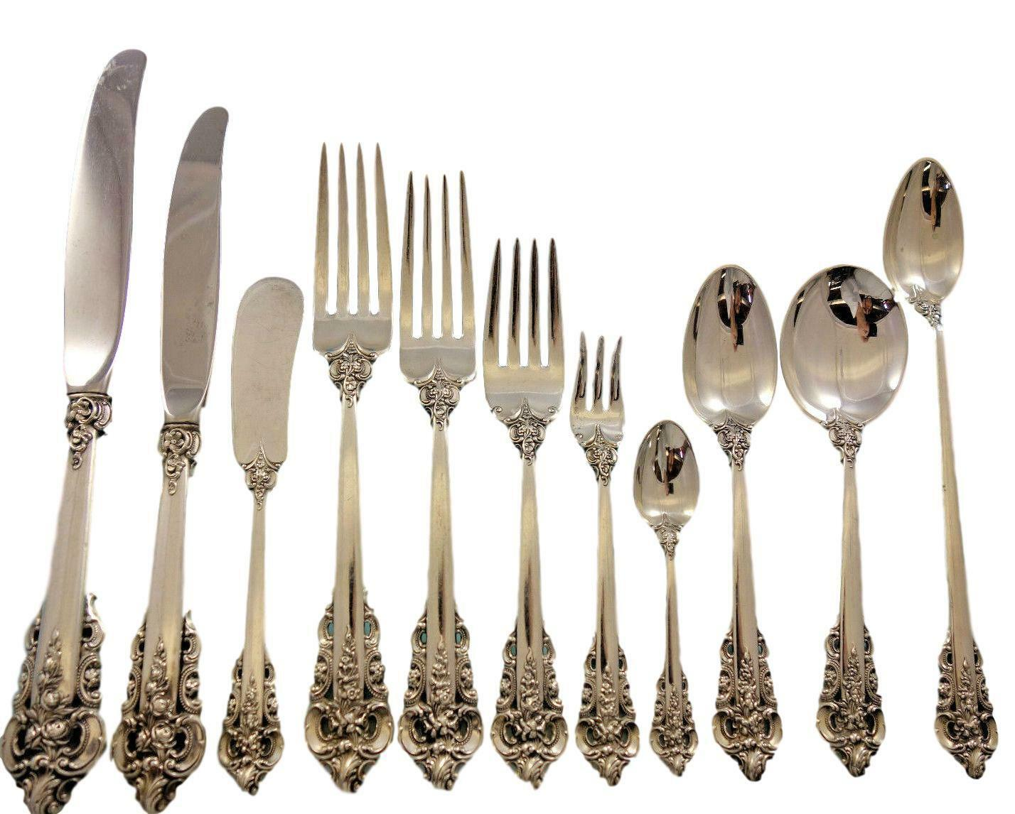 Primary image for Grande Baroque by Wallace Sterling Silver Flatware Service 12 Set 145 pcs Dinner