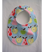 Clearance Baby Bib, Baby Girl Bib, Small Bib, Pears & Apples - $4.99