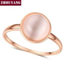 Top Quality Concise Cat's Eye Stone Ring Rose Gold Color Austrian Crysta... - $7.98