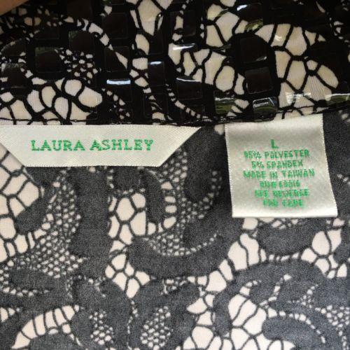 Laura Ashley Womens Jacket Large Full Zip Black White Paisley Shiny Boxy Collar