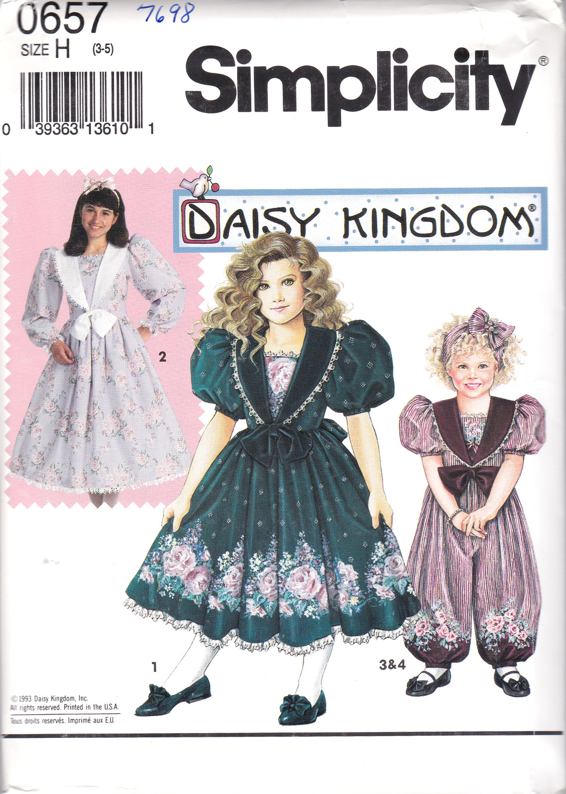Simplicity 0657 or 7698 Girls Sewing Pattern Childs Romper Dress Sizes 3-5 Uncut