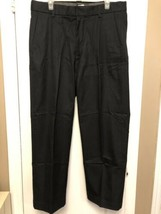 Gap Men's Dress Slacks Size 36/30 Pleated Front Relaxed Fit  Cotton BLACK PANTS - $9.89