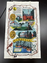 Vintage NWT Kay Dee Virginia State Linen Tea Towel 27 x 16 Richard Batch... - $29.69
