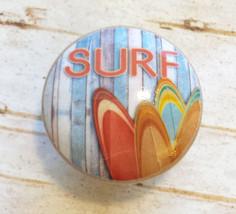 "4 Handmade SURF Knobs, 1.5"" Beach Drawer Pulls, Surfing Boards, Retro Style - $19.80"