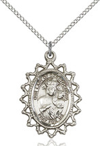 Sterling Silver Our Lady Of Czestochowa Medal Necklace For Women 1619CZSS/18SS - $55.50