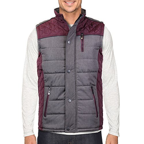 Holstark Men's Zip Up Insulated Fleece Lined Two Tone Vest (Medium, Wine)