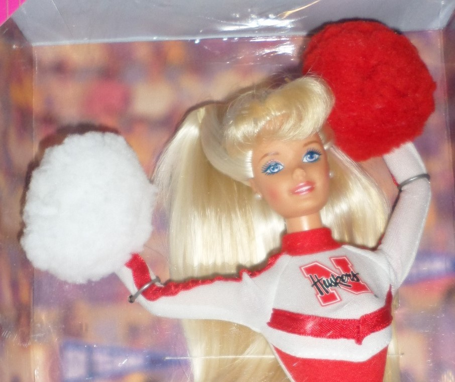 Mattel Barbie Doll University Nebraska Cheerleader 1996 red white uniform H35
