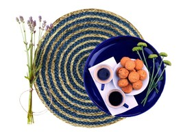 Nature4u 100% Jute Round Woven Braided PLACEMAT (Set of 2, 4 & 6),Navy blue - $17.66+