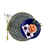 Nature4u 100% Jute Round Woven Braided PLACEMAT (Set of 2, 4 & 6),Navy blue - $17.66 - $37.19