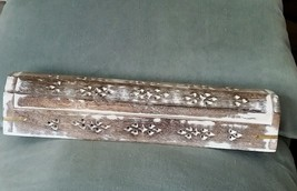 Coffin Incense Burner Brown with White Washed Finish Carved Wood Cones & Sticks