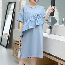 Maternity Dress Solid Color Ruffled Short Sleeve Fashion Knee Length Dress image 4