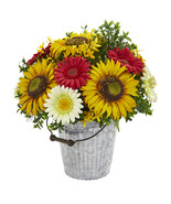 16 Sunflower and Gerber Daisy Artificial Arrangement in Metal Bucket - $111.01