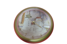 Feldstein Christmas Carol Round Clock Snowmen 12 Tunes Light Sensor Box  - $15.35