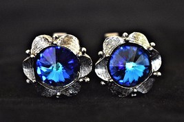VTG Blue Faceted Glass Cuff Links Silver Tone Men's Formal Accessories J... - $18.58