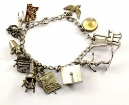 VINTAGE 12 CHARMS STATE STUDY FAITH DOVE SPORT CHAIN BRACELET 925 SILVER... - $69.99