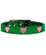Pink Glitter Heart Widget Genuine Metallic Leather Dog Collar Emerald Gr... - $15.06
