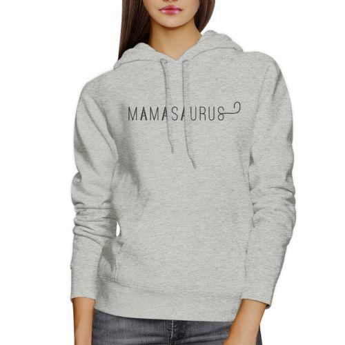 Mamasaurus Gray Round Neck Simple Graphic Hoodie Mom of Boys
