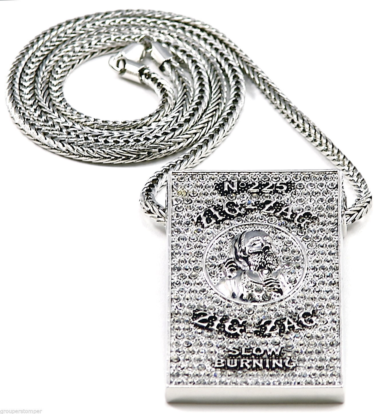 Iced Out New Metal Papers Pendant & 36 Inch Necklace