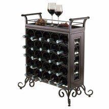 Bronze Finish Metal Wine Rack Holds 25 Bottles Tray Table Top Display St... - $135.53