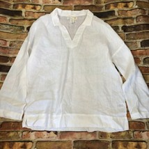 C&C California White Linen Pullover Buttonless Long Sleeve Blouse Size M - $24.74