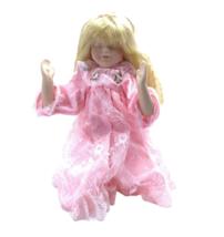 Beautiful Porcelain Doll Blonde Long Hair Pink Lace Dress Kneeling Praying  - $14.84