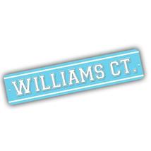 Coach William Court Lt Blue and White Design 4x18 in. Aluminum Street Sign - $17.77